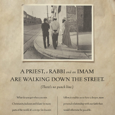 A Priest, a Rabbi and an Iman, We have nothing to eat; Read this ad