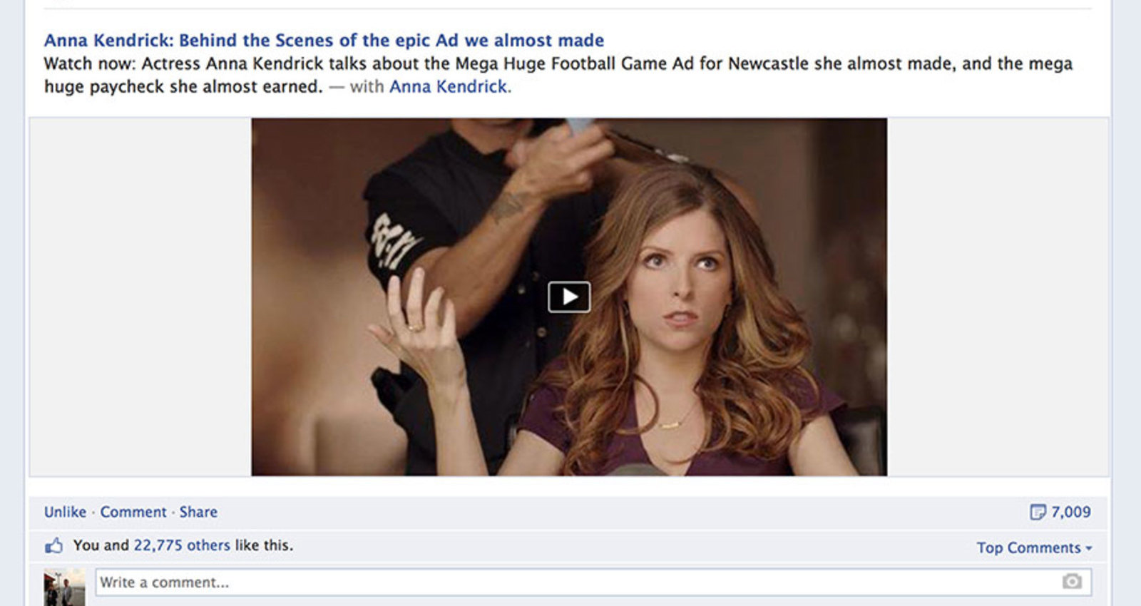 If We Made It - Anna Kendrick: Behind the Scenes of the Mega Huge Footbal Ad We Almost Made