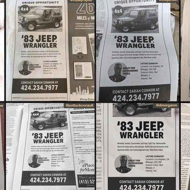 The Terminator: Dark Fate Jeep Sale