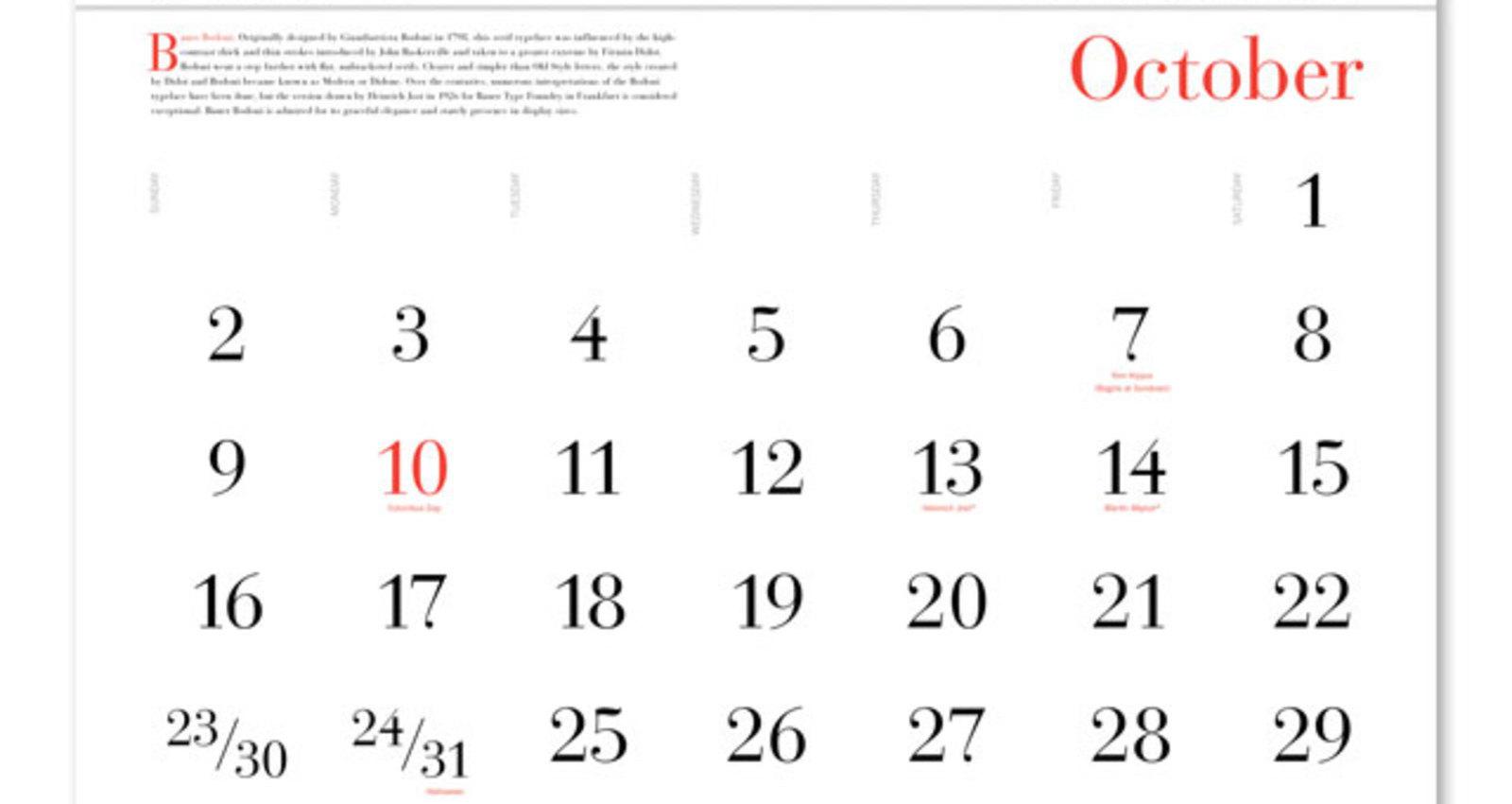 365 Typography Calendar 2011