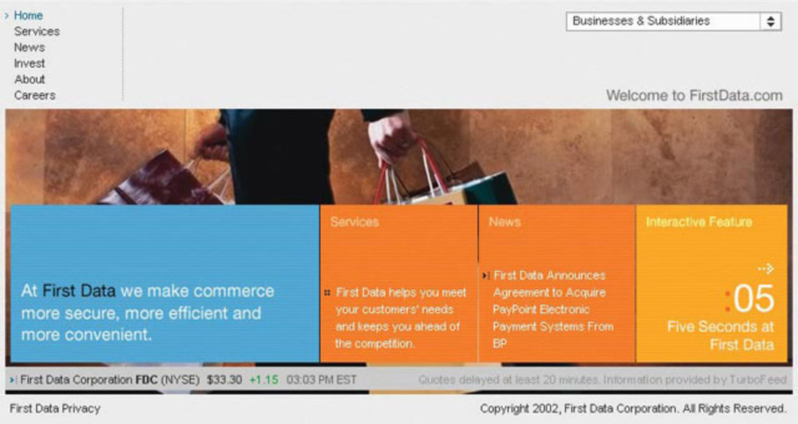 First Data Corp. Web Site